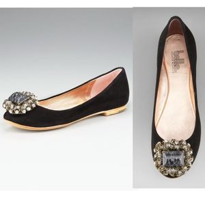 Belle by Sigerson Morrison Shoes - BELLE SIGERSON MORRISON Black Suede Jewel Flats